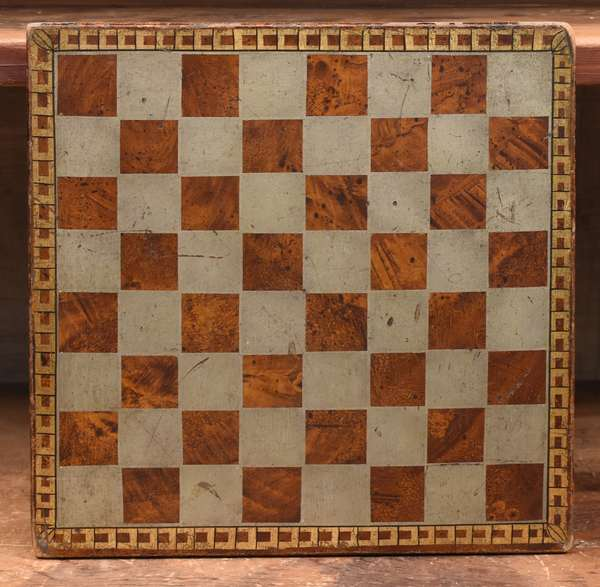 """An unusual 19th C. paint decorated game board, 11.5"""" square"""