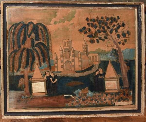 """American school memorial painting on velvet in memory of William Prescott died 1844, 21"""" x 25"""""""