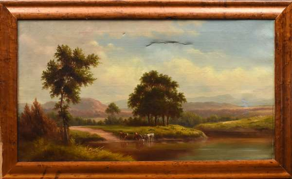"""19th C. oil on canvas, New England landscape with cows-unsigned, 18"""" x 32"""""""