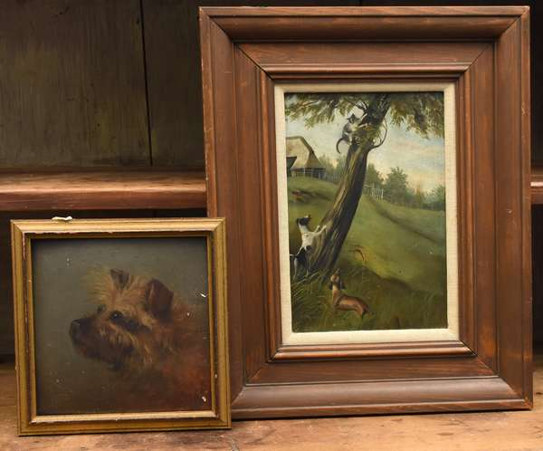 """Two antique primitive oil paintings, dogs teasing a cat, 13.5"""" x 9.5"""" and a Scottie dog 8"""" square"""