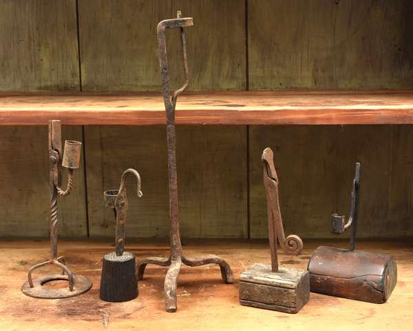 Five early iron and wood rush lights
