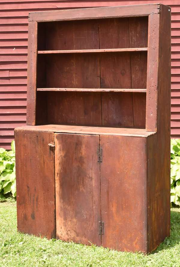 """18th C. red painted open top step-back pewter cupboard with """"H"""" hinges, 76""""H. x 48""""W."""