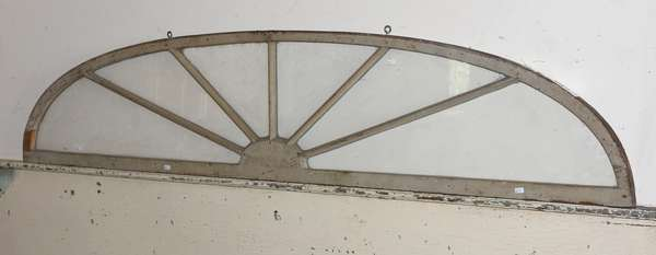 """Good half moon window light chip carving with old grey paint, 70""""L. x 15""""H."""