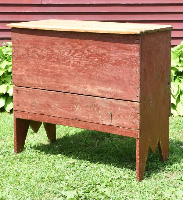 """18th C. blanket chest with one drawer in red paint, 36""""H. x 36""""W."""