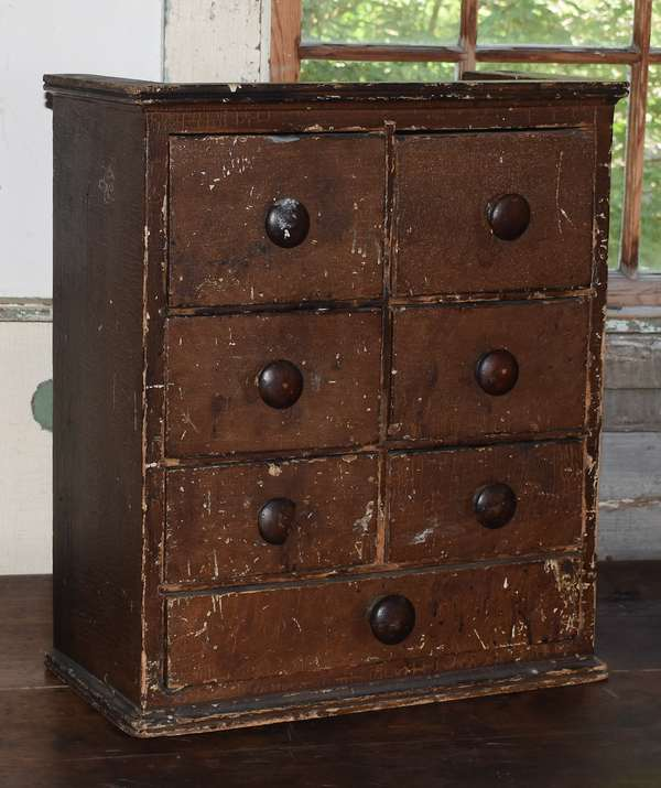 """Early 19th C. grain painted block of seven dovetailed drawers, 20"""" x 17"""""""