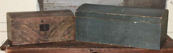 """Two 19th C. New England painted dome top boxes, 27""""L. example in blue smoke decorated 20""""L., both with original hinges"""