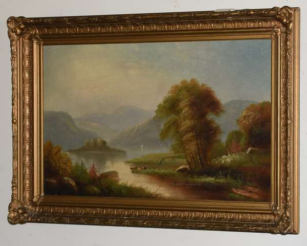 """19th C. Hudson River school oil on canvas with cows and boats, 22"""" x 36"""""""
