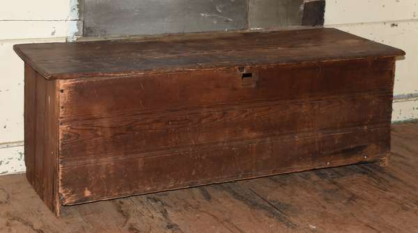 """Pilgrim country pine six board box with carvings, likely Deerfield area, ca.1690-1700, 20""""H. x 53""""L."""