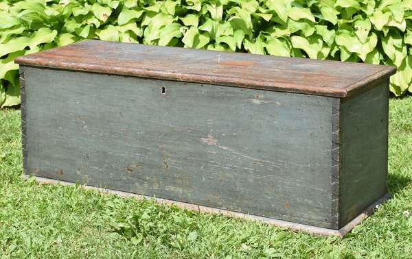 """18th C. dovetailed blanket box in old blue/grey paint with original snipe hinges and rose head nails, 47""""L. x 18""""H."""