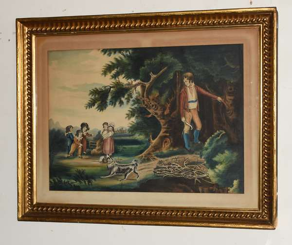 """19th C. primitive watercolor, family and dog playing, 15"""" x 21"""""""