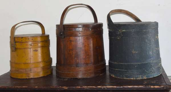 """Three 19th C. covered firkins, blue 12"""", yellow 10"""" and natural 12"""""""