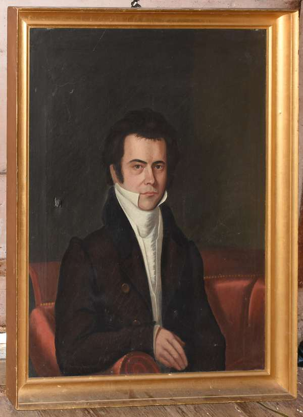 """Early 19th C. portrait painting of Gen. James Audlin, Exeter NH, 34"""" x 26"""""""
