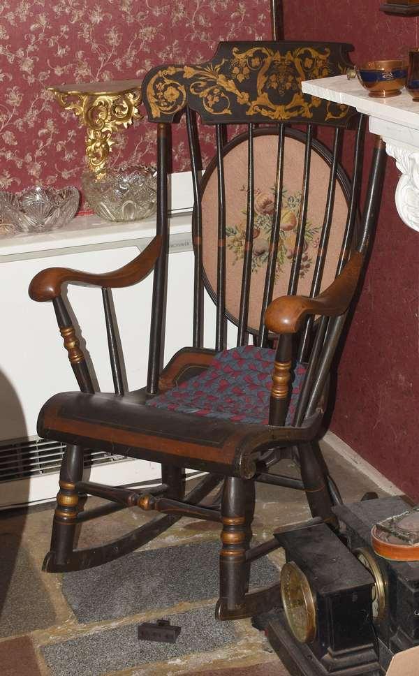 A good paint decorated Boston rocker ca 1860, Soule Family Fairfield VT