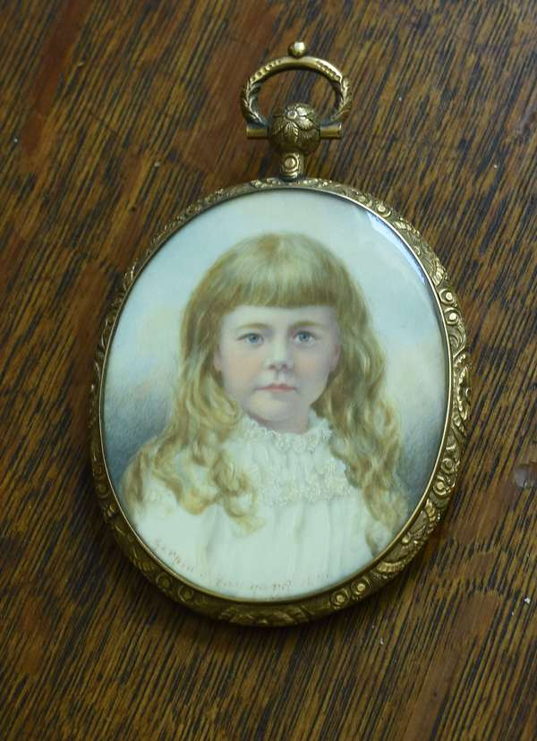 Miniature on ivory, young girl Gerald Hayward 1880