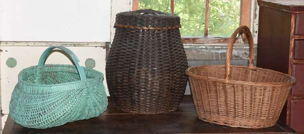 """Mic Mack Indian covered basket, 17""""H. along with two handled baskets"""