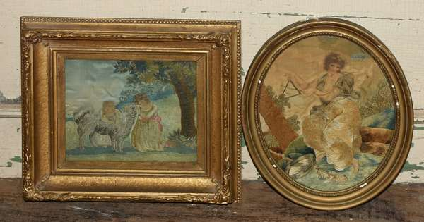 """Two early 19th C. crewel works on silk, two children with a dog, 7"""" x 8"""" along with other"""