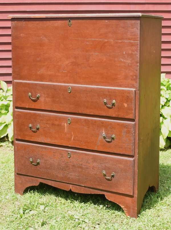 """Early 19th C. country three drawer blanket chest in old reddish grain paint, 49""""H. x 37""""W. (with old bail brass)"""