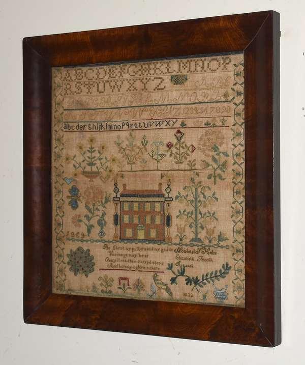 "Fine American school needlework sampler wrought in 1832 signed Michael Hohr Elizabeth Booth, 18"" x 17"""