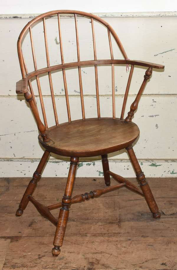 """Windsor sack back armchair with turned stretcher, seat height 18""""H., overall 39""""H."""