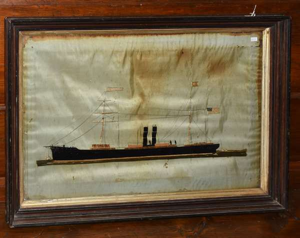 """Embroidery on silk of ship, """"New Orleans"""" by Thomas Willis, 18.5"""" x 29"""""""