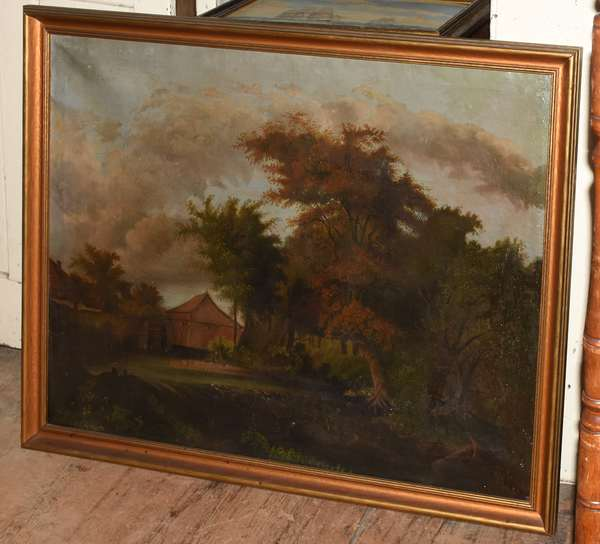 """19th C. primitive oil on canvas, old mill with fisherman, 30.5"""" x 38.5"""""""