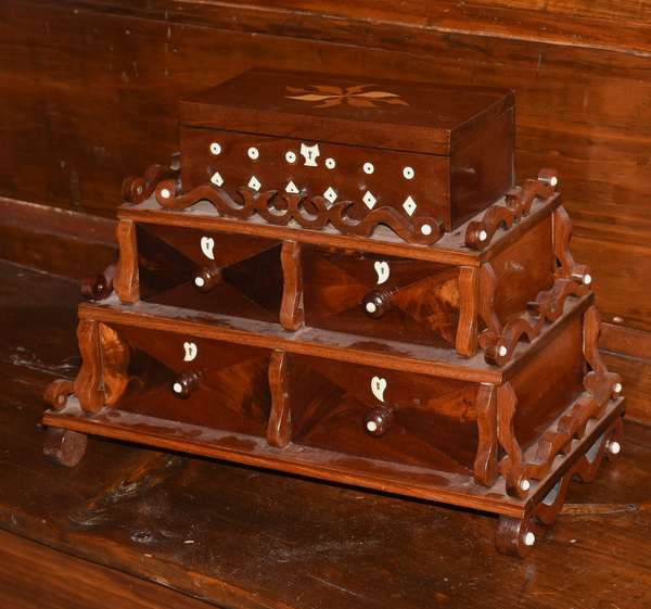 """Late 19th C. mahogany triple stepped dresser box with inlays and applied scrolled decoration, 16""""W. x 12""""H. x 9""""D. Kimball Union Academy litho on inside of lid"""