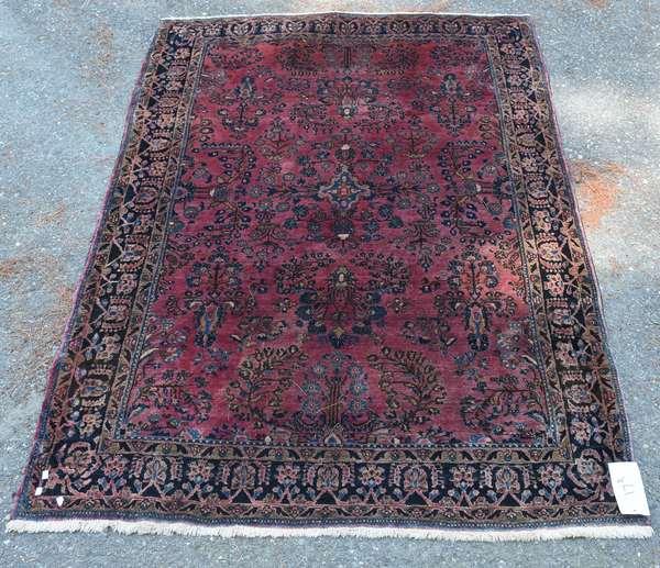 """Sarouk Oriental scatter rug, 6'2"""" x 4'3"""""""