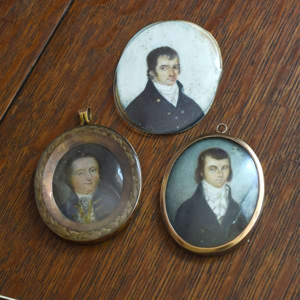 "Three small 19th C. miniature paintings on ivory, gentlemen, 2.5"" x 3"""
