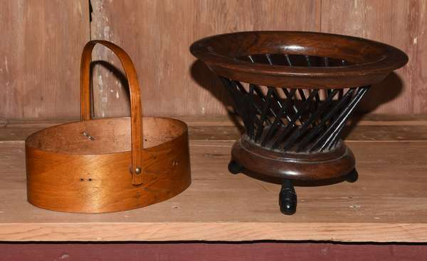 """Two Shaker wooden items: pantry box, 8.5""""L. with a footed open fruit bowl, 9.5""""Dia."""