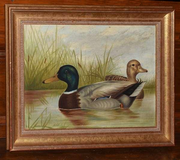 "19th C. primitive folk painting of mallard ducks in pond, male and female, 14"" x 20"""