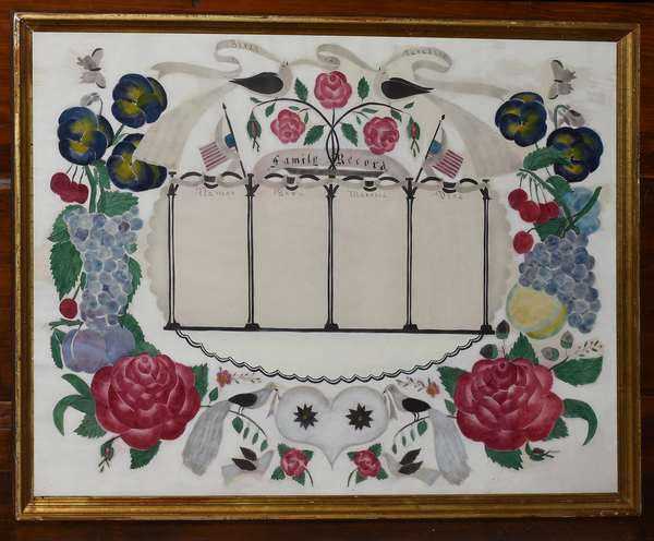"""Good early watercolor and stencil family record, with American flag, birds of paradise and fruit decoration, 18"""" x 23"""""""