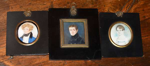 """Three miniature portraits on ivory, young girl, with two young gentleman, sizes 2.5"""" x 2"""" to 2"""" x 3"""""""