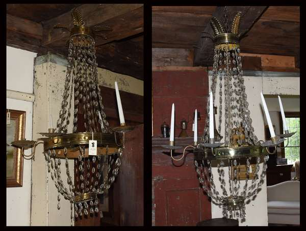 Pair of early iron and tin six branch chandeliers with crystal and leaf decoration