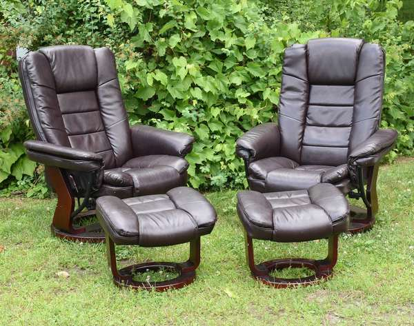 Modern upholstered swivel chairs with ottoman