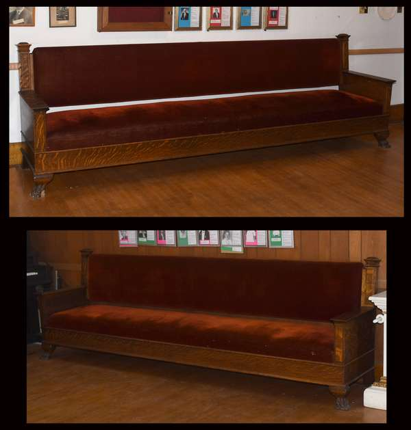 Pair of 10' upholstered oak benches (105-71)