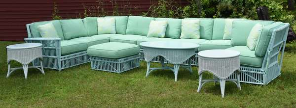 """Large patio set by Maine Cottage """"Camille"""" pattern, blue bell, cost $7500 new"""