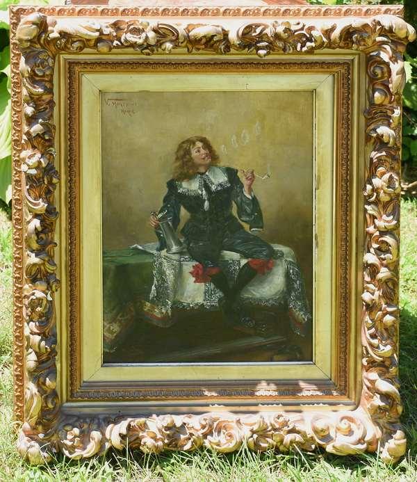 """Italian painting of man smoking a pipe signed V. Morosina """"Roma"""", 15"""" x 11.5"""" (12-15)"""