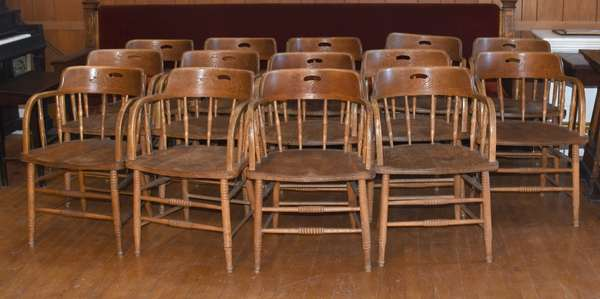 Set of 15 oak captain's chairs, from the Odd Fellows (105-73)