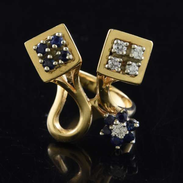 Jewelry - gold, diamond and sapphire ring, approx. 9.5 grams (360-807)