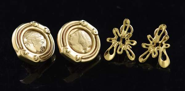 Jewelry -Pair of 18K gold earrings along with a pair of 14K gold earrings, approx. 14.5 grams (360-808)