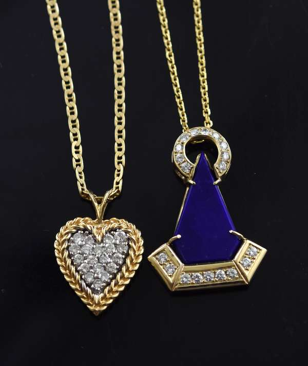 Jewelry -Two 14 K gold and diamond pendants one heart shaped and one Lapis, approx. 12.7 grams (360-809)