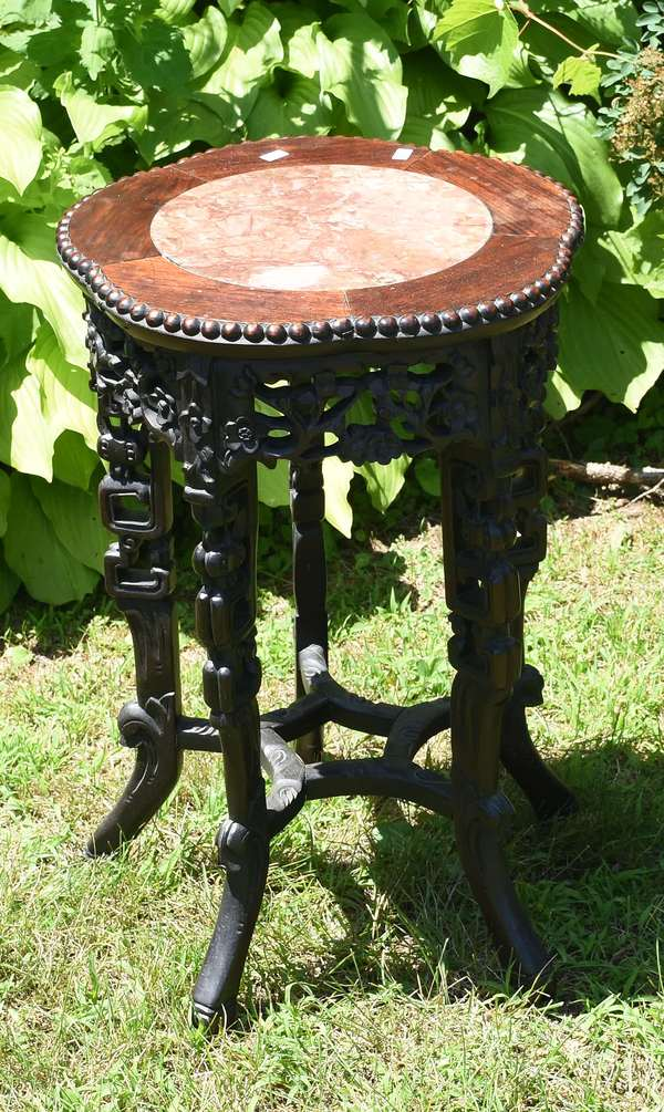 """Oriental tabouret stand with inserted marble, 24""""H. (12-20)"""