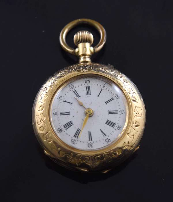 Jewelry -Ladies gold pocket watch, approx. 23.5 grams (360-815)