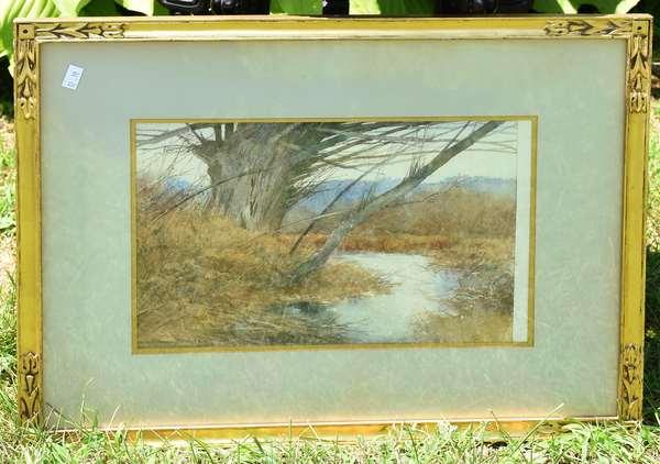 Watercolor of a stream by Hiram Barnee  (12-19)