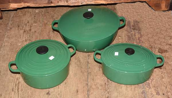 Three Le Creuset covered pots (105-91)
