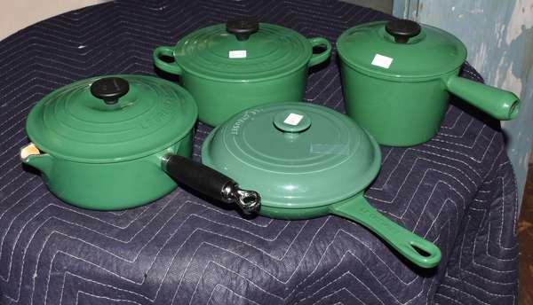 Four Le Creuset pots and pans (105-92)