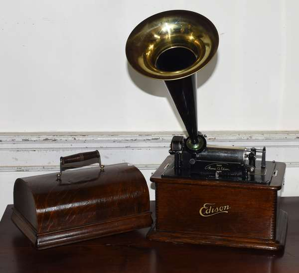 """Edison standard cylinder roll phonograph with horn and extras, 14"""" x 19"""" (293-10)"""
