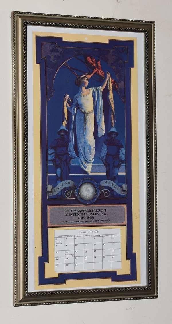 """Maxfield Parrish calendar print restrike 1995, 18"""" x 9""""(293-4)"""
