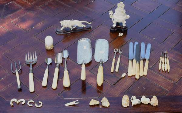 Collection of bone and ivory items (189-11)