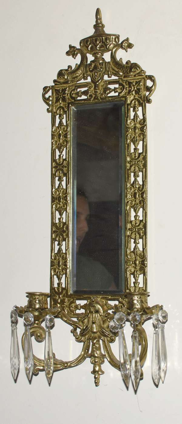 Wall mirror with candle holders (696-40)
